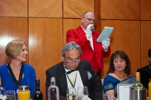 The Toastmaster making annoucments at the evening